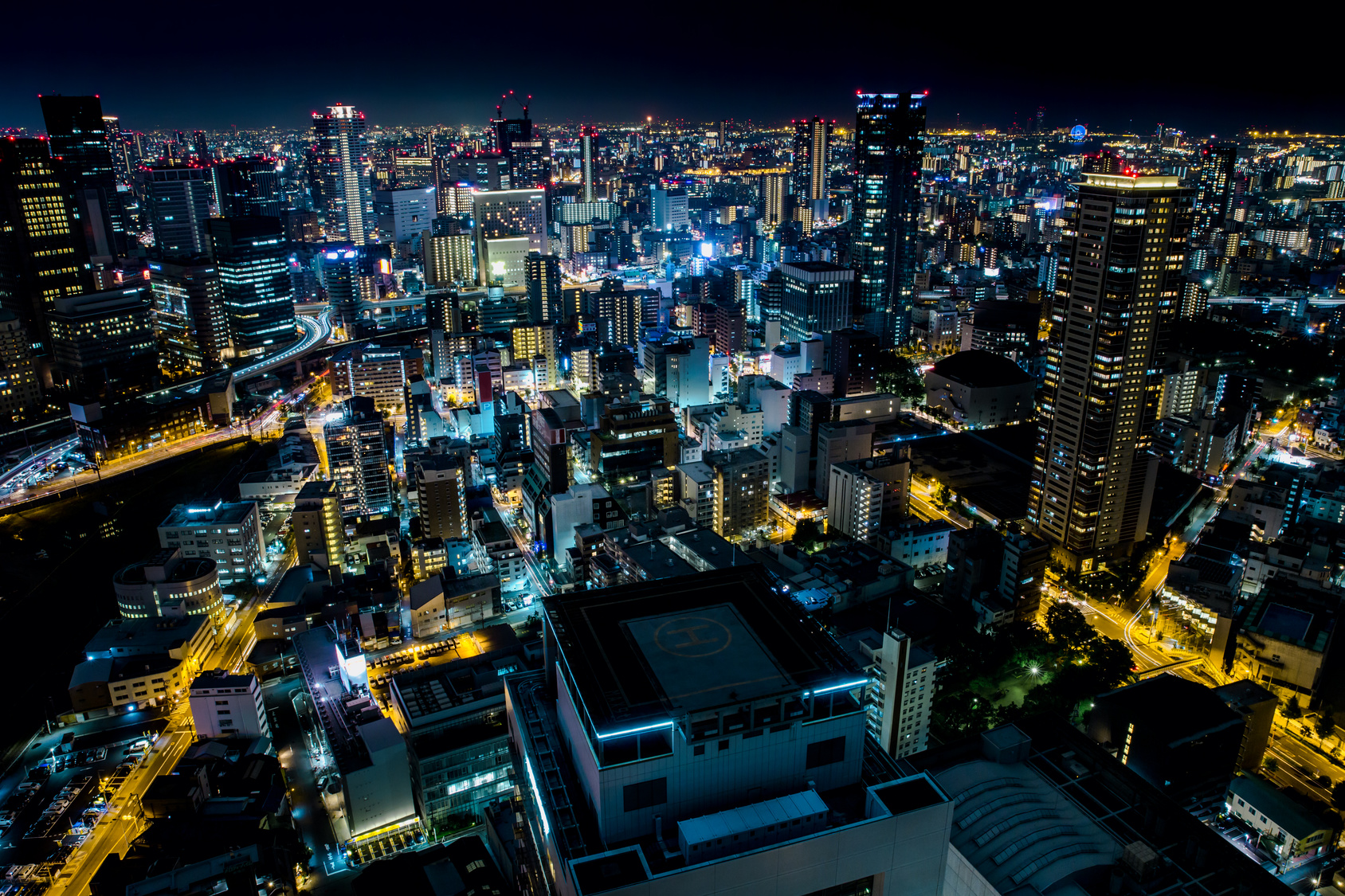 Osaka cityscape at night