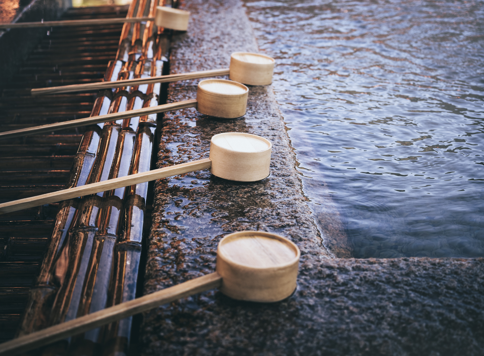 Water Dipper in in shine Japan traditional Religion Culture